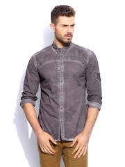 RDSTR Men Brown Rugged Pigment washed Mandarin Collar Shelby Slim Fit Casual Shirt