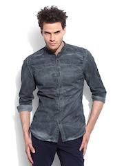 RDSTR Men Grey Rugged Pigment Washed Mandarin Collar Shelby Slim Fit Casual Shirt