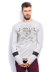 RDSTR Men Grey Stylised Melange T-shirt with Thumb Insert