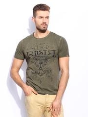 RDSTR Men Olive Green Cold Dyed Customised Printed T-shirt
