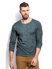 RDSTR Men Teal Colddyed Vintage Slub Slim Fit T-Shirt