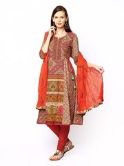 Rain & Rainbow Beige & Red Printed Anarkali Churidar Kurta with Dupatta