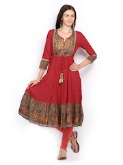 Rain & Rainbow Red Anarkali Kurta