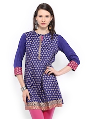 Rain & Rainbow Royal Blue Printed Kurta