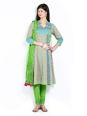 Rain & Rainbow Women Beige & Green Printed Churidar Kurta with Dupatta