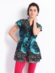 Rain & Rainbow Women Black & Blue Printed Tunic