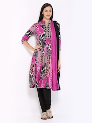 Rain & Rainbow Women Black & Pink Anarkali Churidar Kurta with Dupatta