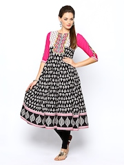 Rain & Rainbow Women Black Printed Anarkali Kurta