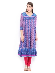 Rain & Rainbow Women Blue & Pink Printed Anarkali Kurta