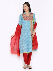 Rain & Rainbow Women Blue & Red Printed Churidar Kurta with Dupatta