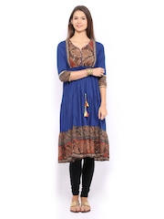 Women Blue Anarkali Kurta Rain & Rainbow