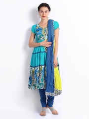 Rain & Rainbow Women Blue Churidar Kurta with Dupatta