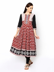 Rain & Rainbow Women Rust Brown Printed Anarkali Kurta