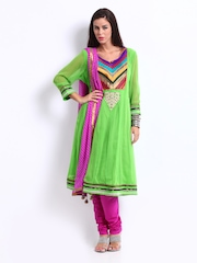 Rain & Rainbow Women Green & Purple Anarkali Churidar Kurta Set