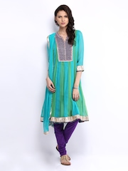 Rain & Rainbow Women Blue & Purple Churidar Kurta with Dupatta