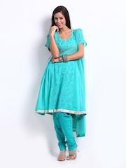 Rain & Rainbow Women Green Embroidered Churidar Kurta with Dupatta