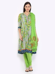 Rain & Rainbow Women Green Printed Churidar Kurta with Dupatta