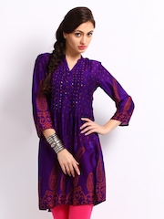 Rain & Rainbow Women Purple & Red Printed Kurta