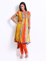 Rain & Rainbow Women Mustard Yellow & Orange Anarkali Churidar Kurta Set
