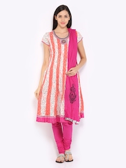 Rain & Rainbow Women Off-White & Pink Printed Churidar Kurta with Dupatta