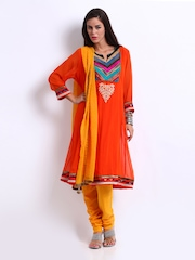 Rain & Rainbow Women Orange & Yellow Anarkali Churidar Kurta Set