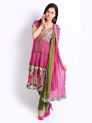 Rain & Rainbow Women Pink & Olive Green Anarkali Churidar Kurta with Dupatta