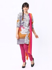 Rain & Rainbow Women Multicoloured Printed Churidar Kurta with Dupatta