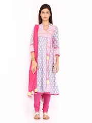 Rain & Rainbow Women Lavender Coloured & Pink Printed Churidar Kurta with Dupatta