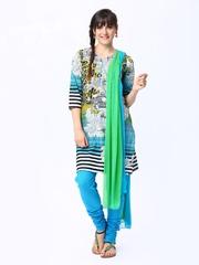 Rain & Rainbow Women Multicoloured Printed Churidar Kurta with Dupatta