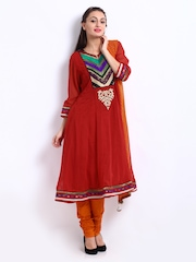 Rain & Rainbow Women Red & Orange Churidar Kurta Set