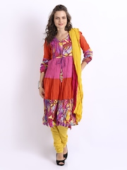Rain & Rainbow Women Multi-Coloured Printed Churidar Kurta with Dupatta