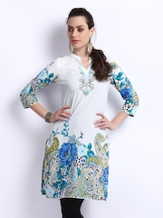 Rain & Rainbow Women White Printed Kurta