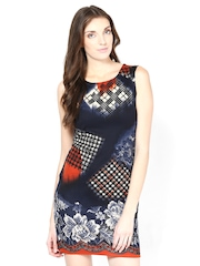 Raindrops Navy Printed Shift Dress