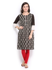 Rangmanch Women Black & Beige Printed Kurta
