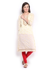 Rangmanch Women Cream-Coloured Kurta