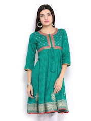 Rangmanch Women Green Printed Anarkali Kurta