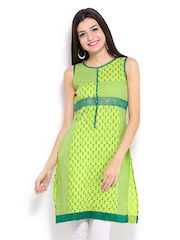RANGMANCH BY PANTALOONS Women Green Printed Kurta