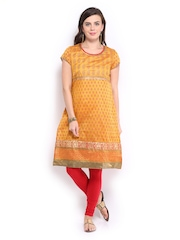 Rangmanch Women Mustard Yellow Printed Kurta