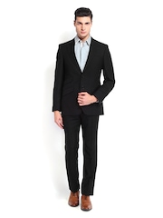 Men Black Contemporary Fit Single-Breasted Suit Raymond