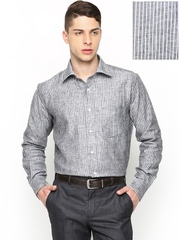 Raymond Men Grey Striped Linen Contemporary Fit Smart-Casual Shirt