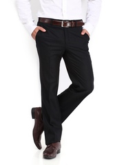 Raymond Men Black Woollen Blend Contemporary Fit Formal Trousers