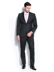 Men Blue Striped Contemporary Fit Single Breasted Suit Raymond