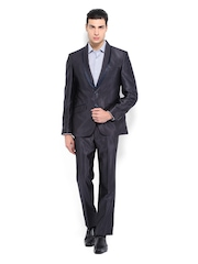 Men Charcoal Grey Slim Fit Single Breasted Suit Raymond