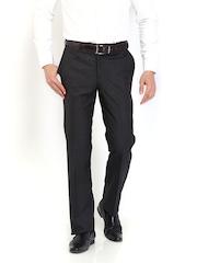 Raymond Men Dark Grey Wool Blend Contemporary Fit Formal Trousers