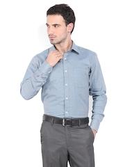 Raymond Men Blue & White Contemporary Fit Formal Shirt