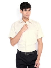Raymond Men Off-White & Beige Checked Contemporary Fit Formal Shirt