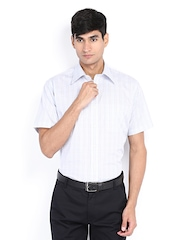 Raymond Men White & Blue Checked Contemporary Fit Formal Shirt