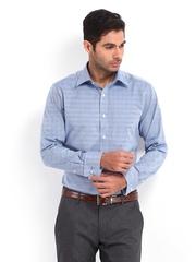 Raymond Men White & Blue Contemporary Fit Formal Shirt