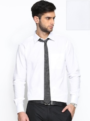Raymond Men White Self-Striped Contemporary Fit Formal Shirt