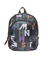 Red Chilli Unisex Black Printed Camo Typo Backpack